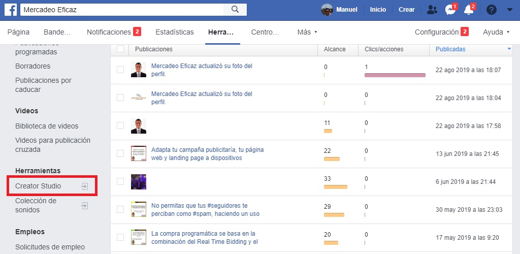 Creator studio Facebook - Mercadeo Eficaz