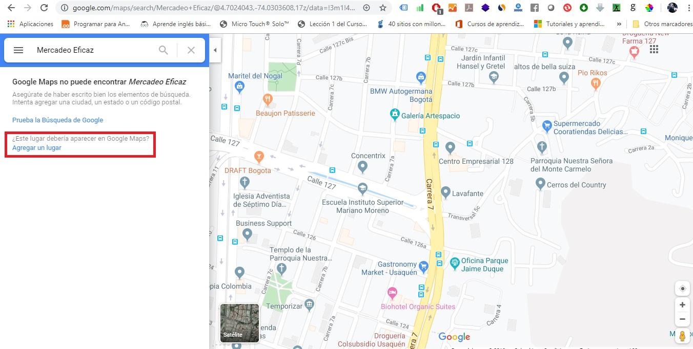 Agregar un lugar en Google maps