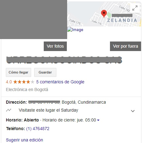 Ficha Google business