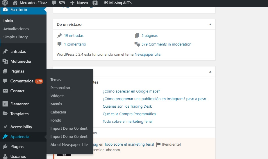 Editar tema wordpress - Mercadeo Eficaz