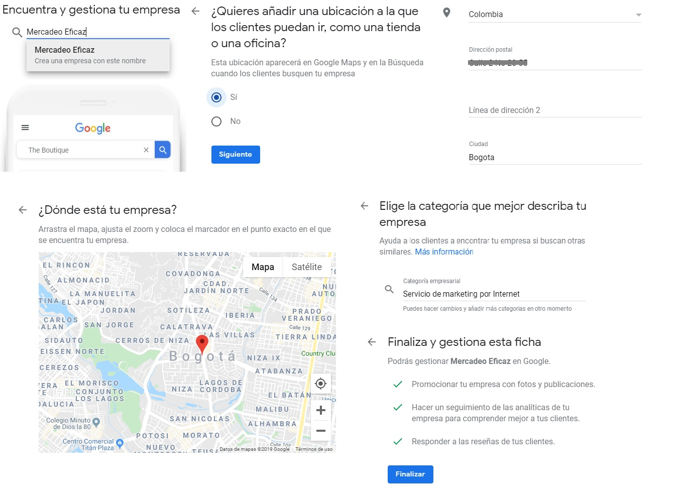 LLena tus datos en Google my business