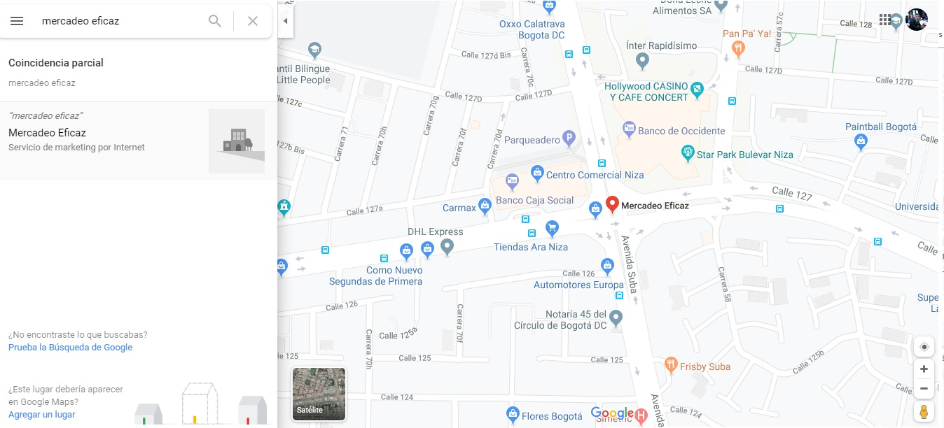 Mercadeo Eficaz en Google maps