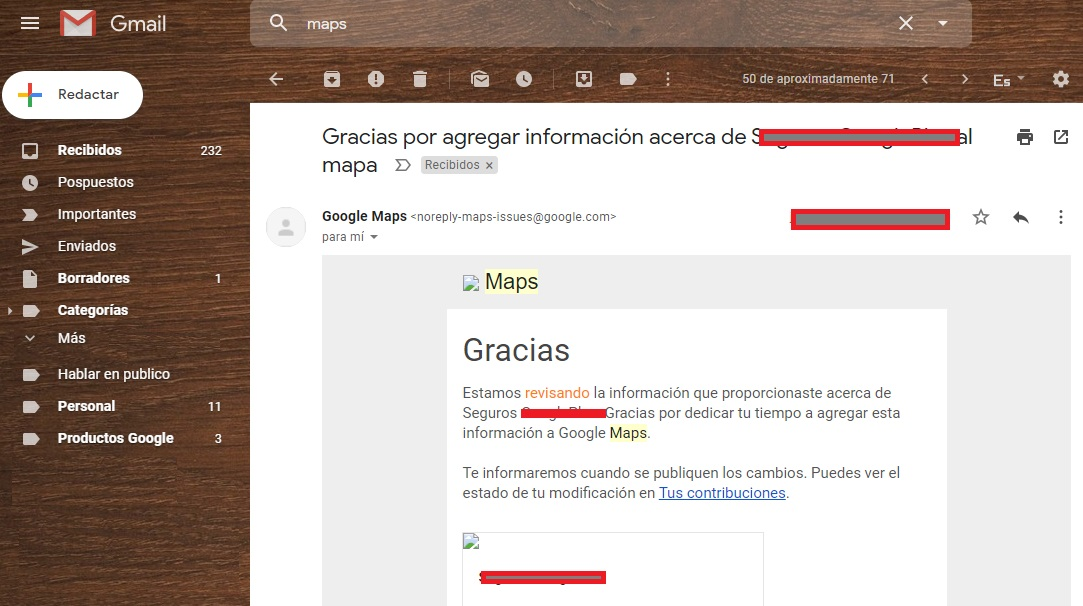 Notificacion correo electronico Google maps