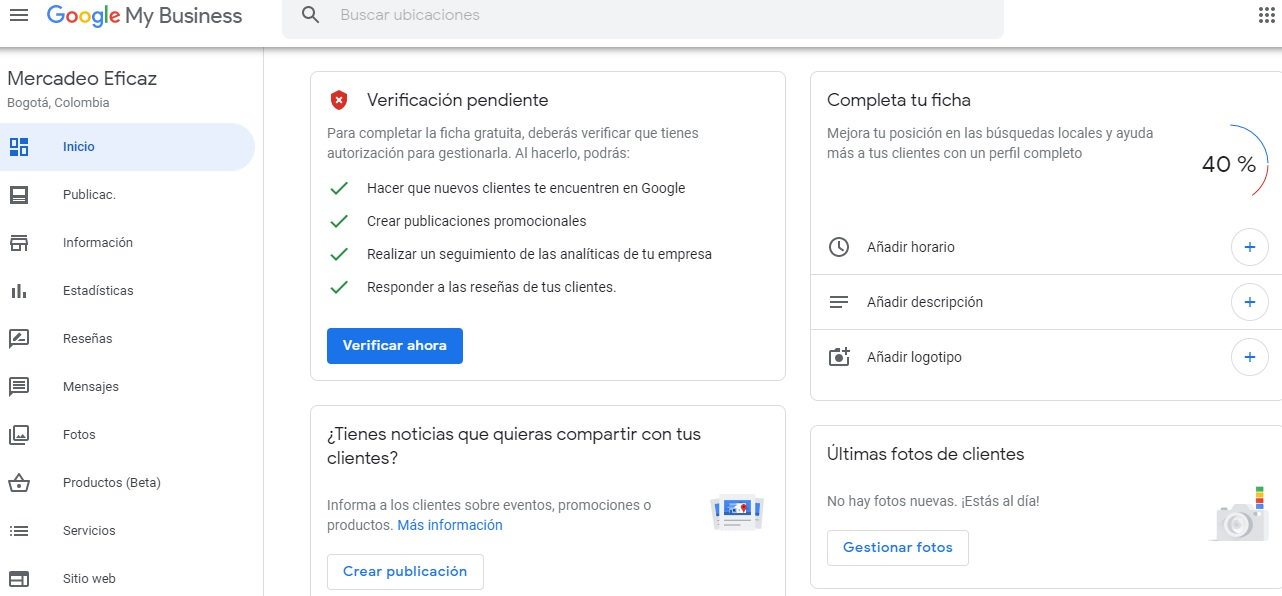 Verificacion Google my business